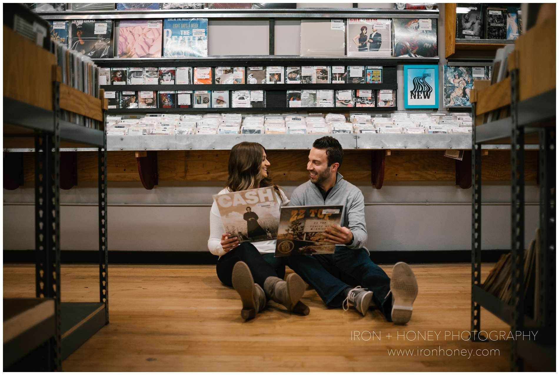 engagement session at reckless records, record store engagement session, reckless records, iron and honey, photography, chicago engagement photographer, chicago photographer