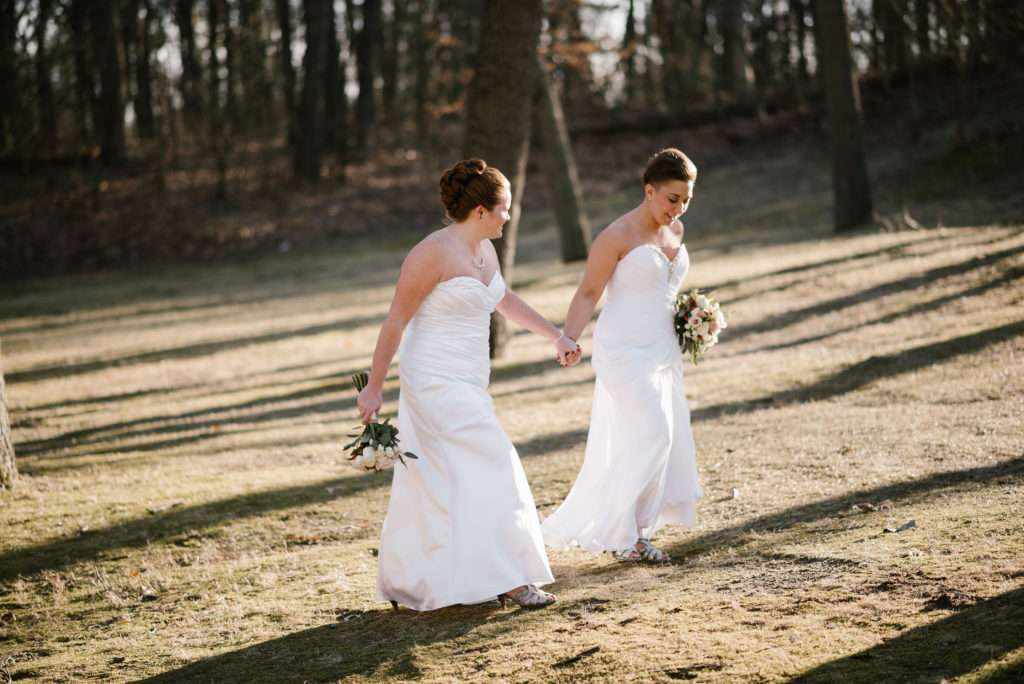 same sex couple, same sex wedding, same sex, wedding, elopement, lgbtq, lesbian, female, women, two brides, krueger memorial hall, michigan city, lodge, rustic, winter, indiana, chicago, wedding photographer, wedding photography, iron and honey, elopement, intimate wedding, small wedding, all female bridal party
