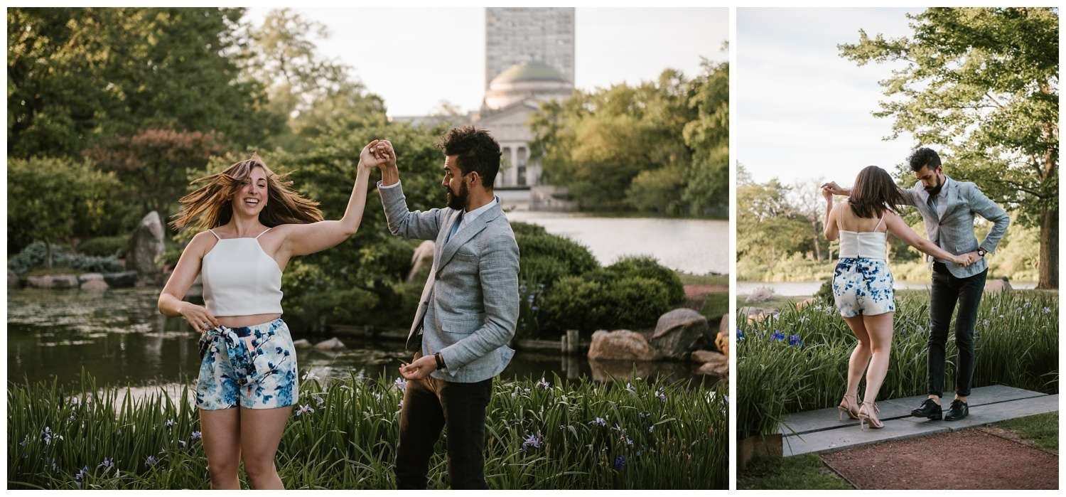Chicago, engagement, wedding, photographer, Iron and Honey Photography, Osaka Garden, Hyde Park, sunset, jackson park, waterfall, kooi, japanese garden, phoenix,