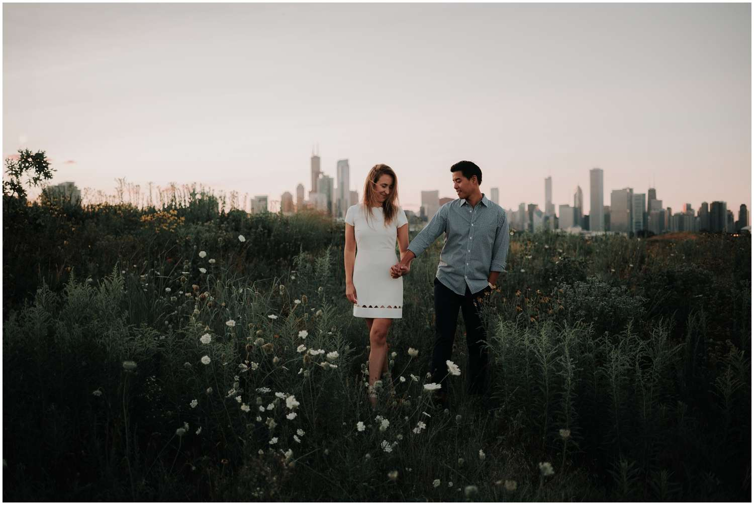northerly island, chicago, skyline, lake, lake michigan, adventure, sunset, twilight, nighttime, wildflowers, hills, moody, lifestyle, adventure, exploring, explore