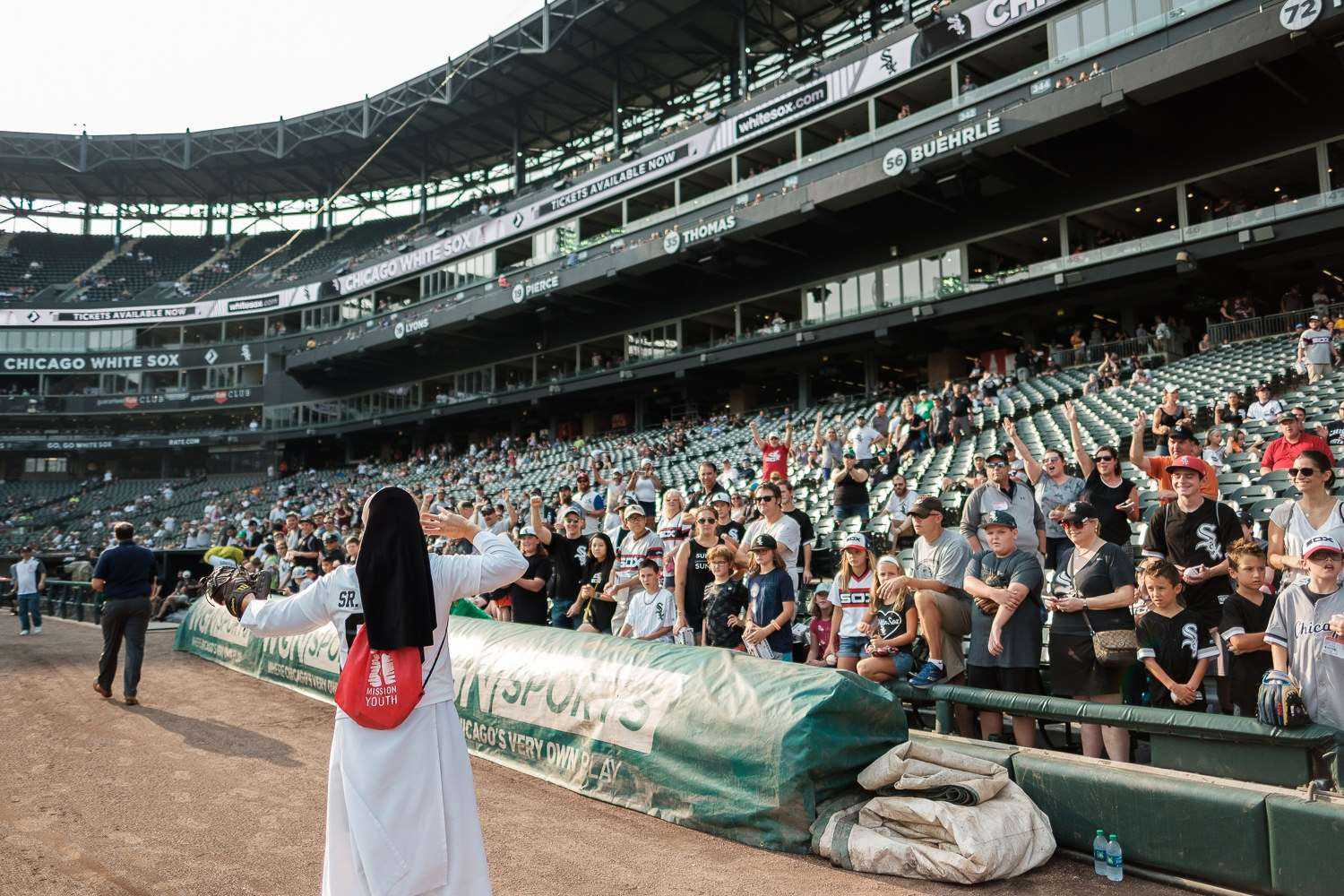 Sister Mary Jo Sobieck, Marian Catholic High School, threw, first pitch, White Sox, Kansas City Royals, Guaranteed Rate Field, comiskey park, nun, sister mary jo, chicago, photographer, photography, sports, perfect pitch, melissa ferrara, iron and honey,