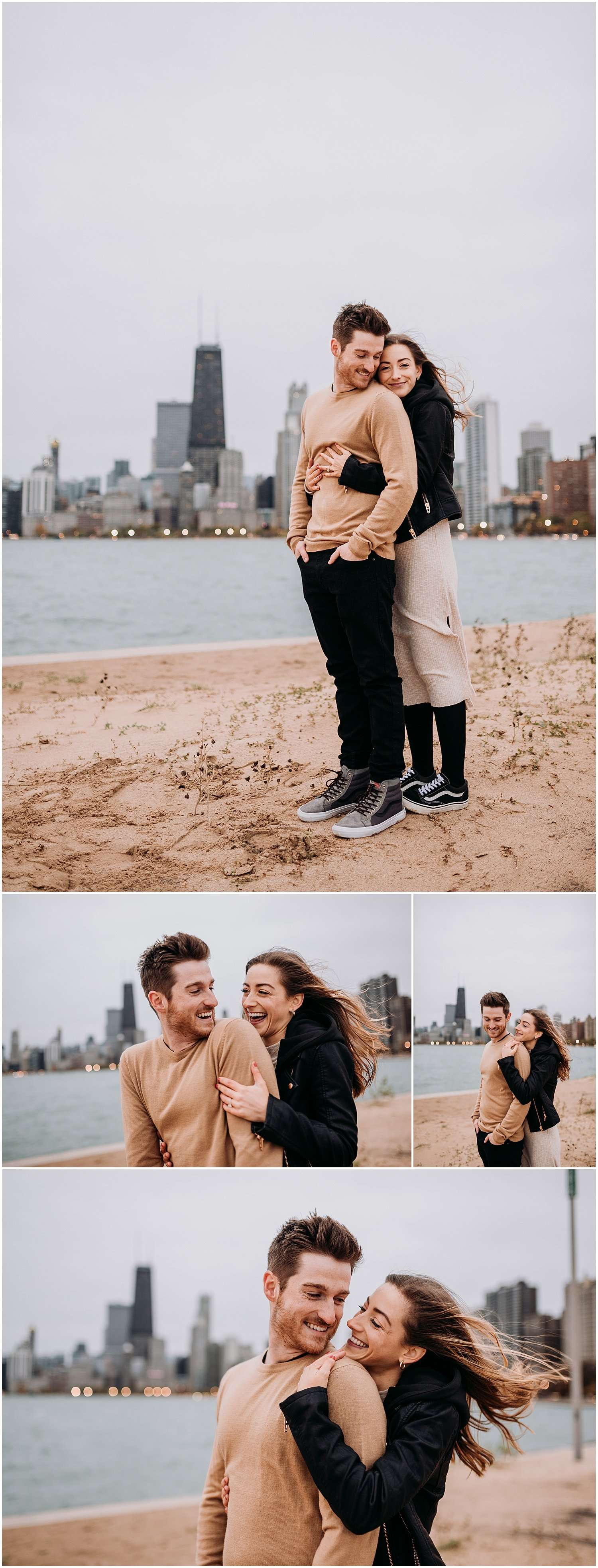 windy city, windy, lakefront, windy city lakefront, north ave, north avenue beach, north ave beach, lake michigan, lake, olive park, milton lee olive park, north shore, cloudy, fun, lifestyle, active, action, couple, couple session, engagement session, photographer, photography, best chicago engagement photographer, best chicago photographer, best chicago engagement session, engagement session ideas, chicago, city, cityscape, skyline, best chicago wedding photographer, iron and honey photography, iron and honey, what to wear engagement session, what to wear to session, what to wear couples session, vans, sneakers, laid back, casual, gloomy, cloudy, sunrise, fall, autumn