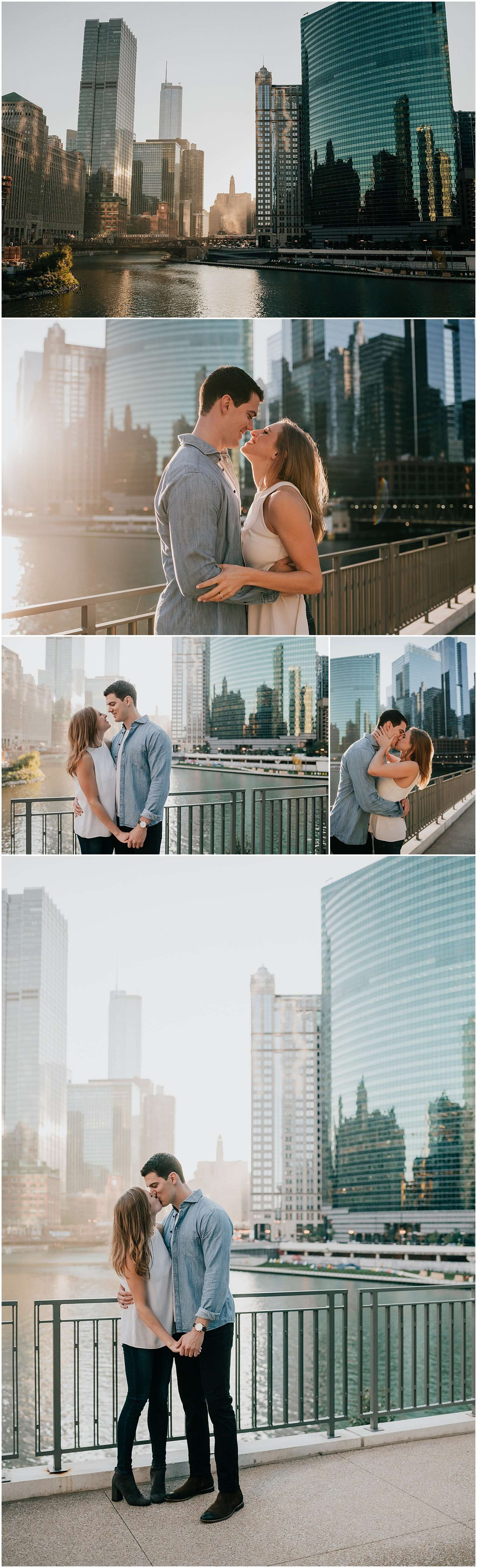 chicago, downtown chicago sunrise, sunrise, downtown chicago, golden hour, morning, street, urban, riverwalk, rooftop, kinzie street bridge, chicago bridge, wolf point west, engagement session, couple session, couples session, best chicago photographer, best engagement photographer, iron and honey, dog, pet, pet photography, dogs