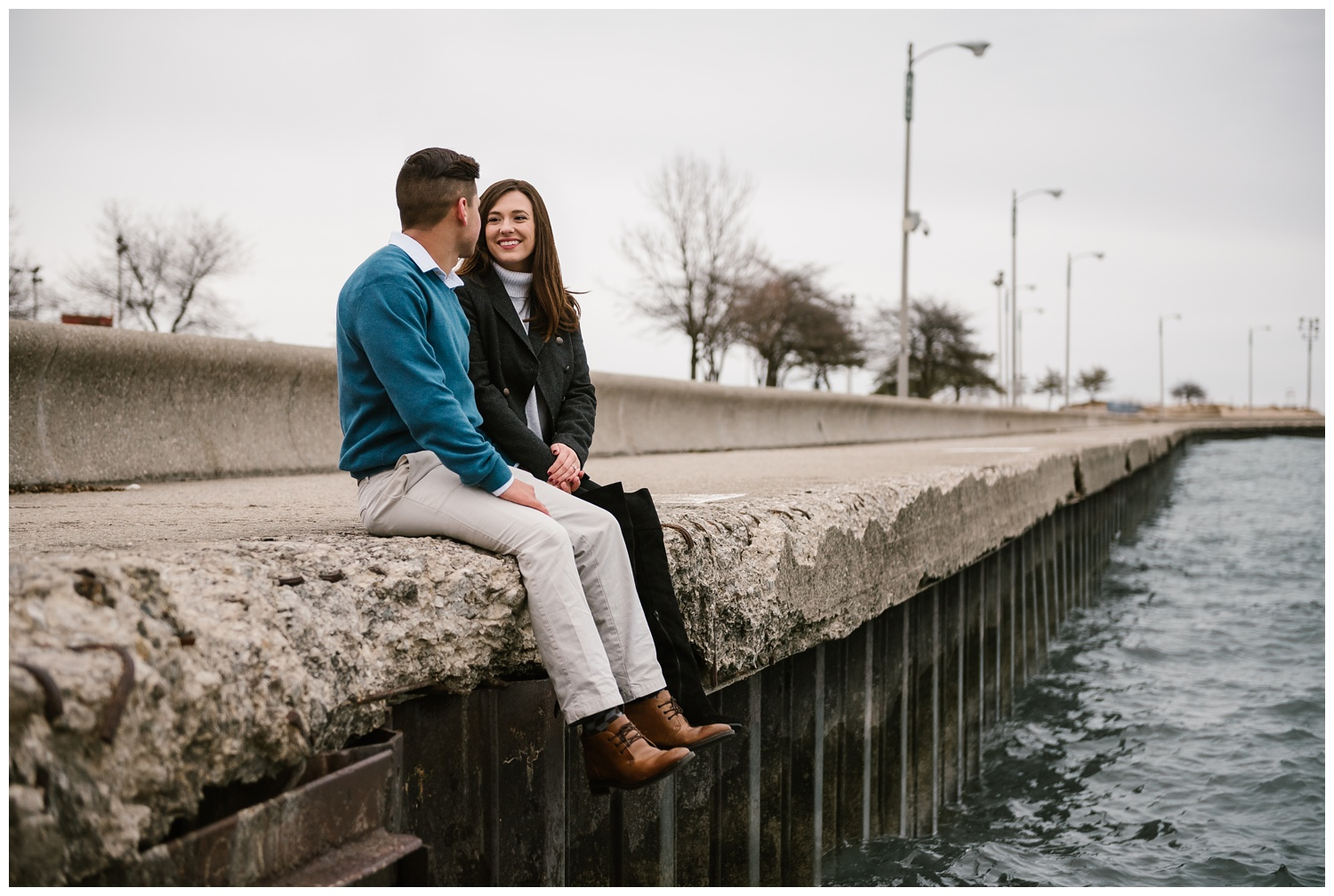 Chandlelyn + Chris - Windy Engagement Session at North Avenue Beach, north avenue beach, chicago, illinois, skyline, hancock building, hancock tower, navy pier, lake michigan, beach, cold, windy, breezy, engagement, session, shoot, photography, photographer, iron and honey, melissa ferrara