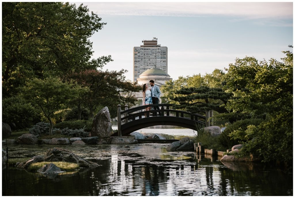 Chicago, engagement, wedding, photographer, Iron and Honey Photography, Osaka Garden, Hyde Park, sunset, jackson park, waterfall, koi, fish, koi pond, japanese garden, phoenix,