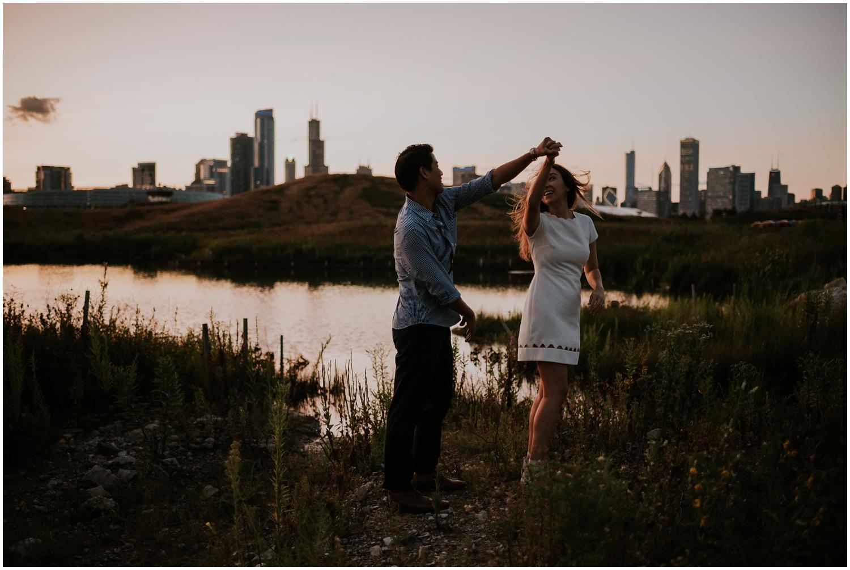 northerly island, chicago, skyline, lake, lake michigan, adventure, sunset, twilight, nighttime, wildflowers, hills, moody, lifestyle, adventure, exploring, explore