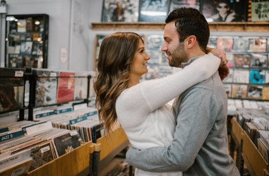 chicago riverwalk engagement session, iron and honey, melissa ferrara, chicago engagement photographer, chicago wedding photographer, chicago riverwalk, engagement session at reckless records, record store engagement session