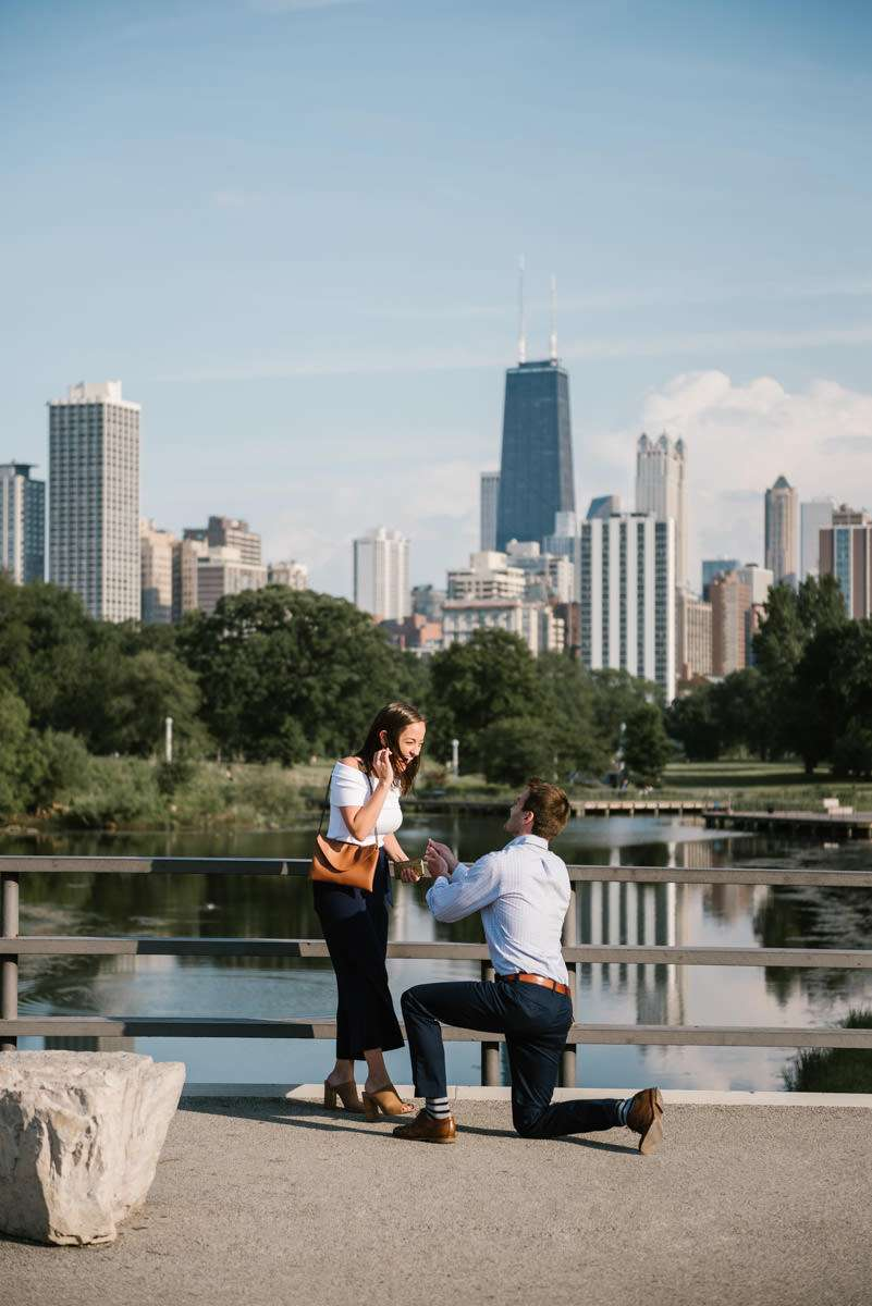 proposal, engagement, engaged, lincoln park, nature boardwalk, chicago, photographer, surprise, couple, lifestyle, iron and honey
