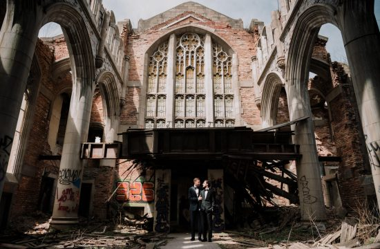 urban decay, city methodist church, abandoned church, abandoned, building, gary, indiana, chicago, illinois, couples session, gay, same sex, lgbtq, iron and honey, melissa ferrara, photographer, photography, wedding, elopement, grungy, moody, dark, emotional, passionate, dangerous, texture, engagement,