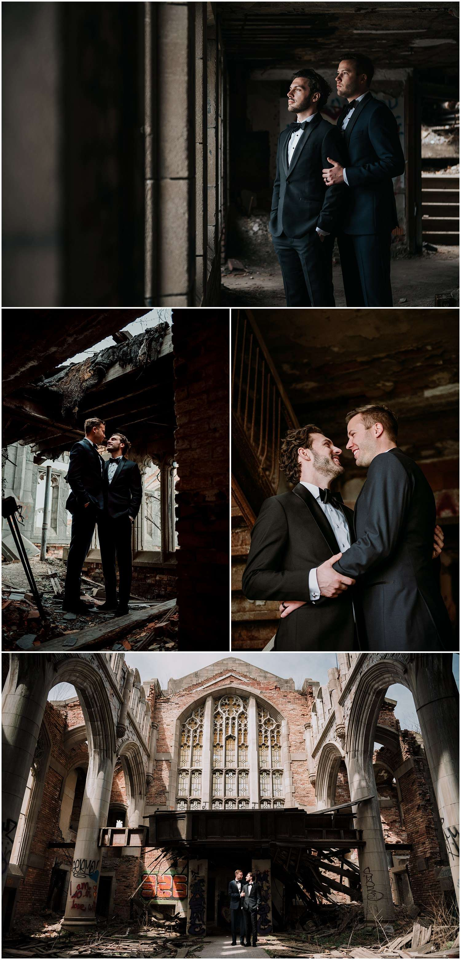 urban decay, abandoned, building, gary, indiana, chicago, illinois, couples session, gay, same sex, lgbtq, iron and honey, melissa ferrara, photographer, photography, wedding, elopement, grungy, moody, dark, emotional, passionate, dangerous, texture, engagement,