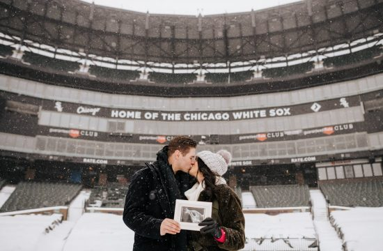 white sox, baseball, lauren watkins, jace fry, mlb, major league baseball, pitcher, comiskey park, guaranteed rate field, baby, pregnancy, announcement, snow, winter, chicago, snow, snowing, field, stadium, museum campus, skyline, city, photographer, photography, iron and honey, polar vortex